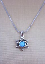 NECKLACE STAR OF DAVID SET TURQUOISE STONE STANLESS STEEL NEW