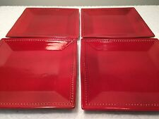 "Red 10.5"" Square Dinner Plates SET OF FOUR - Pier 1 Imports Spice Route Paprika"