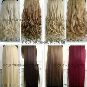 Clip in Hair Extension Half Head 1pc Long Thick Curly Straight Synthetic UK
