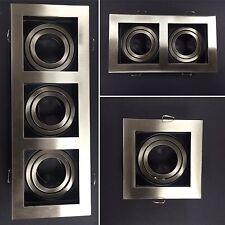 LED GU10 Square Tilt Spotlight Recessed Ceiling Downlight Satin & Black Fitting