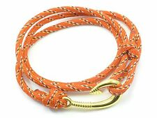 Wrap Around Hook Bracelet Cord Stainless Steel Fish Rope Paracord Nautical Gold