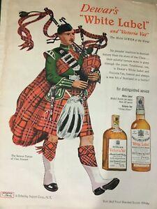 """1951 VTG Magazine Print Ad 8""""X11"""" Dewar's White Label & Victoria Vat Scotch Ad"""
