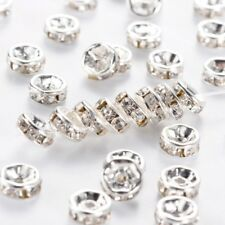 500pcs Brass Rhinestone Clear Rondelle Charm Spacer Beads Grade A 6mm