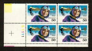 C128 50 Cent Plate Block of 4 MNH OG Harriet Quimby Pioneer Pilot Free US Ship'g