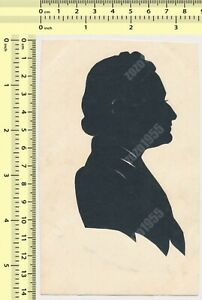 Silhouette Paper Cut-Out Woman Lady Portrait vintage original old card