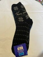 Womens Comfy Socks Slippers Warm Anti-Slip Black Christmas Size US Sz Large