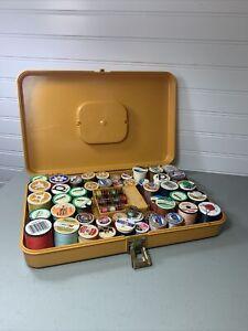 VTG MCM Wilson Wil-Hold Thread Sewing Box Organizer Sewing Caddy Storage Gold 4E