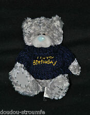 Peluche Doudou Ours Gris CARTE BLANCHE Me To You Pull Bleu Birthday 14 Cm TTBE