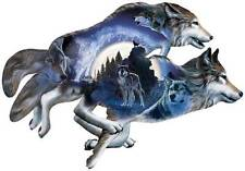 SUNSOUT SHAPED JIGSAW PUZZLE MOONLIGHT WARRIORS AL AGNEW WOLVES #95497