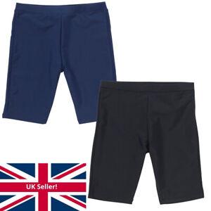 Boys School Swim Shorts Sports Training Black Navy Plain Colour H2O UK Seller