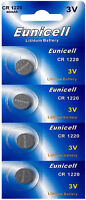 4 x CR1220 3V Lithium Knopfzelle 40 mAh ( 1 Blistercard a 4 Batterien)Eunicell