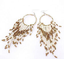 WHITE, GOLD BEADED HOOP TASSEL BOHEMIAN STYLE DANGLE EARRINGS 40MM