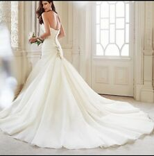 UK Sweetheart White/Ivory Mermaid Wedding Dress Bridal Ball Gown Size 6-20