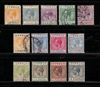 Cyprus stamps #72 - 85, short set, mint & used, 1921 - 1923, SCV $293.00