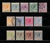 Cyprus stamps #72 - 85, short set, mint & used, 1921 - 1923, SCV $293.00