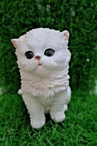 WHITE PERSIAN CAT SITTING ANIMAL GARDEN STATUE ORNAMENT FIGURINE SCULPTURE SMALL
