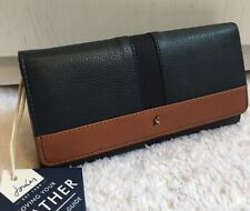 JOULES BLACK TAN LEATHER TALLY CARRIAGE FLAP ENVELOPE PURSE WALLET BNWT