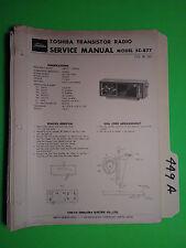 Toshiba 5c-877 service manual original repair book transistor radio 4 pages