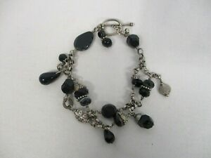 KIM OTTERBEIN STERLING SILVER DOUBLE CHAIN with BLACK GLASS BEAD TOGGLE BRACELET