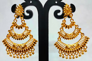 22K Gold Plated Indian Bollywood 5 CM Long Wedding Fashion Earrings Set ETFNS4