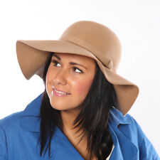 Women's wide Brim Wool Felt Hat - Beige
