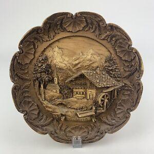 Wunderschöner Vintage Holzteller silber Relief 28 cm Durchmesser Shabby NEU!