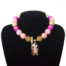 New Chunky Beads Bubblegum Gumball Charm Moana Cabochon Necklace Children Gift