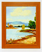 Country Lake Landscape 16 x 20 Oil Painting on Canvas w/ Custom Frame