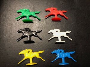 Race Horses 'Day at the Races' 6 Game Pieces Red Blue White Green Yellow Black
