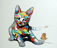 Cat Kitten Playing Oil & Mixed Media Modern Pop Art 20X24 Painting  Stretched