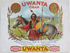 THE 1899 'UWANTA' Indian Chief Sample Cigar Box Label