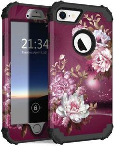 Hocase iPhone 8 Case 7 Case, Shockproof Protection Burgundy Flowers