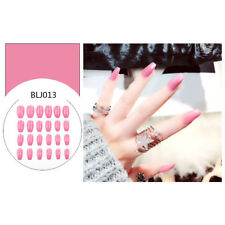 24pcs Fake Finger Nails Color Acrylic Artificial False Full Cover Nail Art TipSE