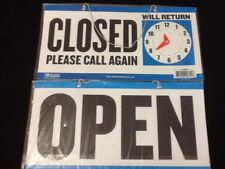 Open Closed Sign W Chain 2 Sided 11x 6 Store Business Hours Free Suction Cup