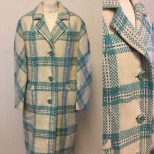 Vtg 60s Womens Coat Size 16 Approx White Turquoise Woven In Scotland 100% Wool
