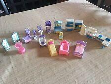Doll House Furniture Lot Kitchen Bathroom Bedroom & Doll Purple Plastic 90's Set