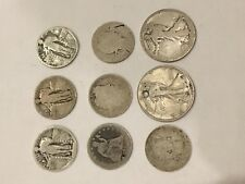 Old SILVER US Coin Lot: liberty seated, walking half dollar, quarter barber