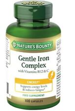 Nature's Bounty Gentle Iron Complex with Vitamins B12 & C - 100 Caps Energy