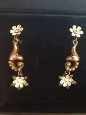 Magical Michal Negrin White Fairy Flower Earrings Pearl Dangle Drop Stars