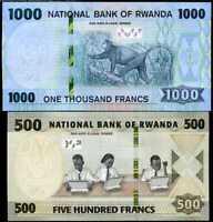 RWANDA SET 2 UNC 500 1,000 FRANCS 2019 P NEW COLOUR UNC