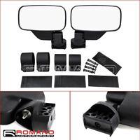 """UTV Rear View Side Mirror 1.75"""" 2"""" For Polaris Ranger RZR Yamaha YXZ Rhino Black"""