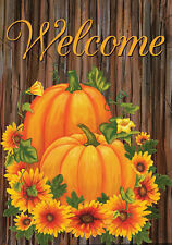 New listing 12.5'' x 18'' Pumpkins and Mums Fall Welcome Garden Flag Autumn Floral Us Us �