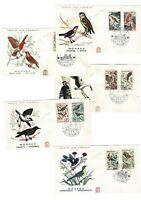 5 Sobres primer día Monaco 1962 Aves Pajaros first day premier sellos