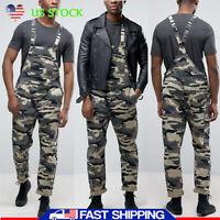 Men's Distressed Denim Overalls Bib Pants Jean Jumpsuits Camouflage Trousers USA