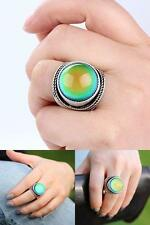 Mojo Antique Big Round Stone Ring Sterling Silver Plated Color Change Mood 7
