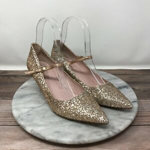 Kate Spade Millie Gold Glitter Pointed Toe Mary Jane Heels Womens Size 6