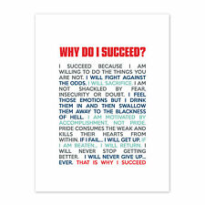 Sports Motivational Succeed White Canvas Wall Art Print
