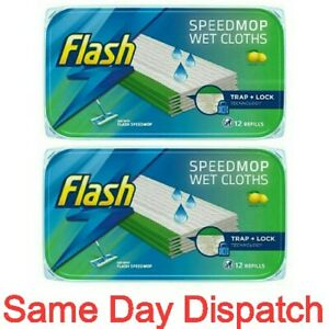 2x Pack Flash Speedmop WET CLOTHS Refills Lemon Flash Speed Mop Total 24Refills