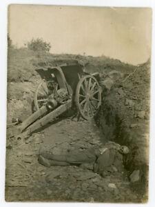 DEATH Antique Photo Skeleton Dead Soldier Canon Military World War Unusual Odd