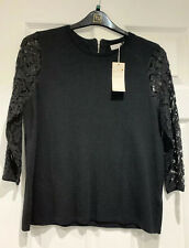 Per Una M&S Black Zip Back Lace Sleeve Jumper With Wool Size14